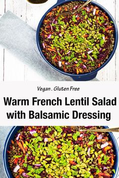 You will love this easy and healthy french lentil salad. The lentils are cooked in a delicious broth giving this salad a well rounded flavour, topped with loads of fresh veggies and peptitas. This lentil salad is perfect for entertaining, to take to a pot luck or make a big batch and keep for lunches in the week. It is filling, healthy and easy! #lentils #lentilsalad #vegansalad #veganrecipes #saladrecipeseasy #glutenfreerecipes #healthyeating