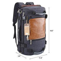 KAUKKO Vintage Beiläufige Canvas Rucksäcke 3 Wege Carry Laptop Umhängetasche für Herren Damen Wandern Outdoor Rucksack mit große Kapazität (22 Liters Khaki): Amazon.de: Koffer, Rucksäcke & Taschen