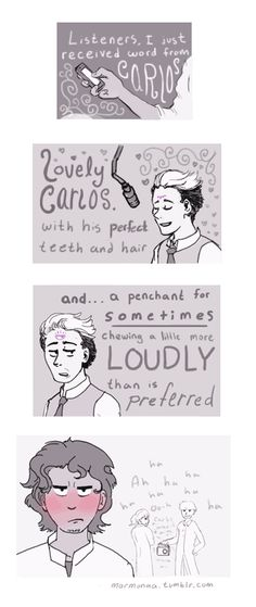 Cecil + Carlos: That awkward moment when your boyfriend uses his radio show to call you out on your table manners.