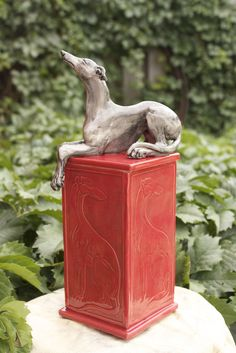Sarah Snavely Image of Medium sized tall Greyhound memory box in red glaze