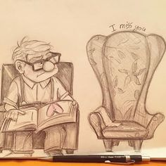 No photo description available. Sad Sketches, Disney Sketches, Disney Drawings, Pencil Art Drawings, Art Drawings Sketches, Cute Drawings, Lil Uzi Vert Cartoon, Up Pixar, Disney Up
