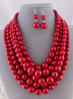 Chunky Layered Red Pearl Necklace Set Silver Fashion Jewelry NEW #Passion