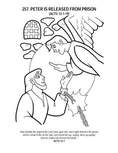 FREE Bible Story Coloring Sheet and Written Activities as well as Lesson Plans. Easy to download! Just type in what Bible story you are looking for in the search bar. http://www.mybookezz.org/peter-being-released-from-prison-coloring-sheet-1134/