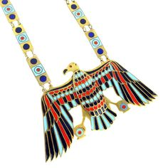 Egyptian Revival Eagle Necklace Red Blue by ClarasChicBoutique