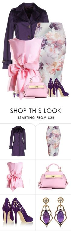 """pink and purple"" by divacrafts ❤ liked on Polyvore featuring Atos Lombardini, Yanny London, Salvatore Ferragamo, Oscar de la Renta, women's clothing, women, female, woman, misses and juniors"