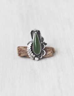 Vintage Sterling Silver Jade Teardrop Ring - Native American green stone statement ring - Size 6.75 signed PC by CuriosityCabinet on Etsy