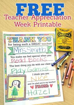 Love this free Teacher Appreciation Week printable! It's a great gift for teachers, and one your child can customize to make it special. You could also make this a class gift by letting each student fill out a page and then binding them all together. Teacher Thank You, Great Teacher Gifts, Your Teacher, Thank You Gifts, Teacher Presents, Thank You Ideas For Teachers, Card For Teacher, Teacher Stuff, Personalized Teacher Gifts