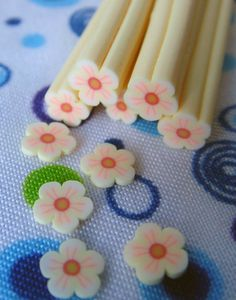 White Flower Fimo Polymer Clay Cane