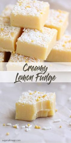 Lemon Fudge A creamy and silky-smooth lemon fudge recipe with a great tang! via creamy and silky-smooth lemon fudge recipe with a great tang! Lemon Fudge Recipe, Lemon Recipes, Fudge Recipes, Candy Recipes, Sweet Recipes, Baking Recipes, Dessert Recipes, Fudge Flavors, Gourmet Recipes