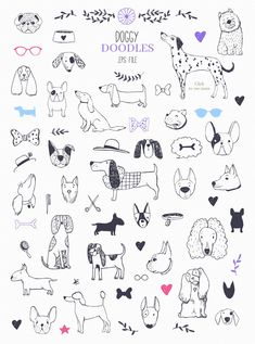Who Let The Dogs Out? by Bibela on Creative Market - crtanje - Who Let The Dogs Out? by Bibela on Creative Market - Tier Doodles, Cute Doodles, Easy People Drawings, Easy Drawings, Doodle Drawings, Animal Drawings, Pencil Drawings, Dog Illustration, Illustrations