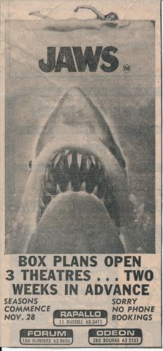 1970s and 80s Newspaper Movie Clippings: Jaws
