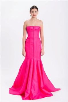 J. Mendel Gown in Raspberry Silk Wool Gazaar. 212 872 8957