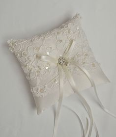 Ivory Alencon Lace Ivory Ring Bearer Pillow by weddingsandsuch, $44.00