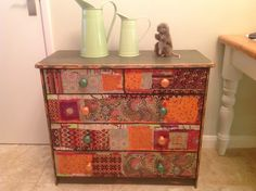 Decoupaged and Annie Sloan painted chest. www.facebook.com/BureChic