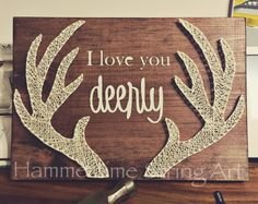 I love you Deerly Antlers String Art decor More