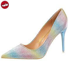 Oasap Women's Pointed Toe Stiletto Heels Giltter Slip-on Pumps, Yellow EURO39/US8/UK6 (*Partner-Link)