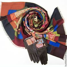 Комллект: Палантин батик и перчатки Африка - африка,комплект аксессуаров