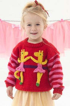 Free Knitting Pattern for Giraffe Ballerina Sweater - Pullover sweater for children featuring dancing giraffes. To Fit Age: 2 Years to 6 Years. Designed by Lion Brand. Baby Boy Knitting Patterns, Baby Sweater Knitting Pattern, Christmas Knitting Patterns, Knitting For Kids, Knitting Designs, Free Knitting, Crochet Top Outfit, Animal Sweater, Baby Sweaters