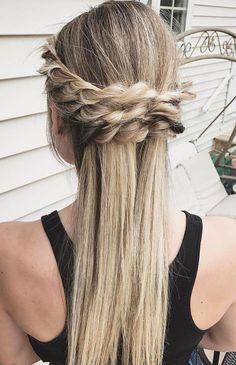 Crown braid - half up half down hairstyle #promhair #weddinghair #bridesmaidhair #hairstyle #hairideas #knottedcrown #hairstyles