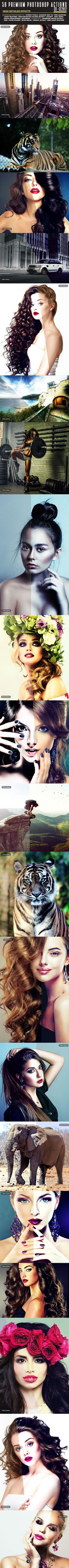 50 Premium Photoshop Actions - Photo Effects Actions Creative Photoshop, Photoshop Photos, Photography Tools, Photoshop Photography, Effects Photoshop, Photoshop Actions, Photo Effects, Photoshop Tutorial, Fashion Glamour