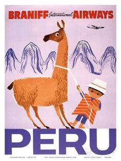 Peru - Braniff International Airways - Native Boy with Llama Art at AllPosters.com