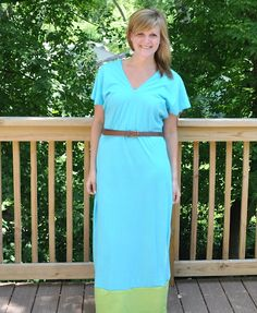 DIY maxi dress. And you don't have to hem it because it's with knit fabric. Takes 30 min.