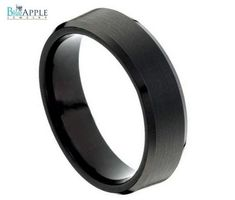 Tungsten Carbide His Hers Ring Wedding Band 8MM Beveled Edges Black Enamel Plated Brushed And Polished Comfort Fit Unisex Ring