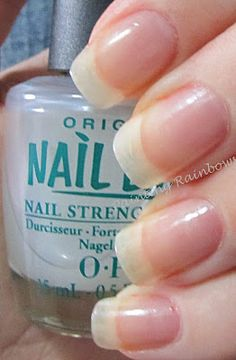 Nail Envy by OPI, follow the instructions (two coats, then every second day, add one more coat. At the end of the week, remove it all and start again with two coats). Good for brittle nails..this is legit stuff! Makes you nails grow strong!  Can't wait to try this!!!