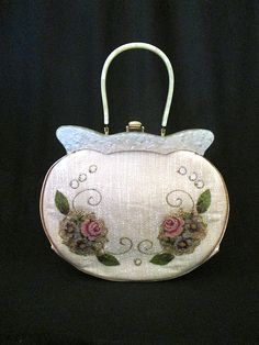 """Out of this World 1950's Embroidered Purse with Lucite Trim and Handle by """"Claire Fashions"""" Rockabilly VLV Pinup Vixen"""
