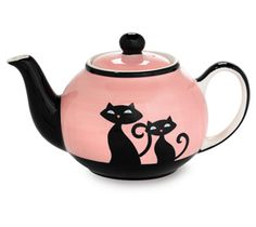 Pink and black cat teapot by frances Café Chocolate, Teapots And Cups, My Tea, Crazy Cat Lady, Tea Time, Vases, Tea Party, Tea Cups, At Least