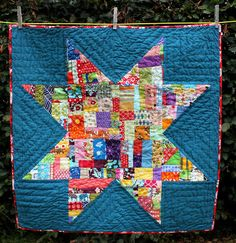Giant Star Quilt using Indie by Pat Bravo and Essex Linen in Steel ... : giant star quilt - Adamdwight.com