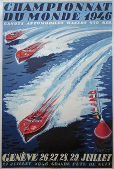 A nice lot of two 1940s era boat racing posters | Classic Driver Market