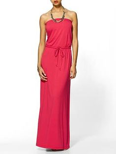Strapless Knit Maxi Dress by Hive & Honey. $59. Must  have in this color and gray.