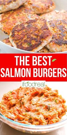 Juicy Salmon Burgers with simple ingredients and pan fried until golden. Serve on a bun, with mango slaw or freeze for later. Your kids will lick the plates! Healthy Potluck, Healthy Freezer Meals, Healthy Family Meals, Potluck Recipes, Healthy Breakfast Recipes, Cooking Recipes, Healthy Recipes, Healthy Foods, Healthy Salmon Burgers