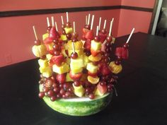 fruit skewers for opening day of pool party...easy for kids to help