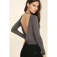 Hype-Worthy Dark Grey Backless Bodysuit ($33) ❤ liked on Polyvore featuring intimates, shapewear and grey