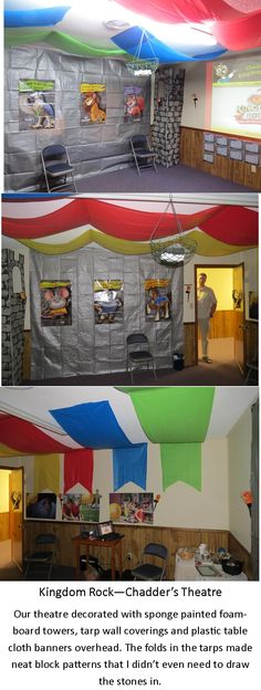 Room decoration for Chadder's Theatre during our Kingdom Rock VBS.gray tarp and banners.