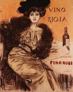 Ramon Casas Carbó (1866-1932). Cartel Vino Rioja.