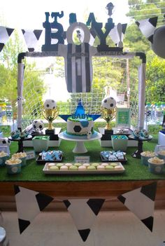 Soccer Baby Shower - Many folks start out looking for cheap baby shower favors since they have the misconception that all b Fiesta Baby Shower, Boy Baby Shower Themes, Boy Shower, Baby Shower Games, Baby Shower Parties, Baby Shower Decorations, Baby Boy Soccer, Soccer Baby Showers, Sports Baby