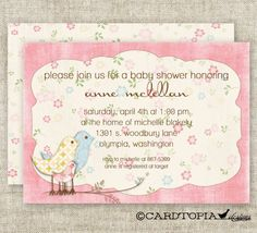 Shabby Chic GIRL BABY SHOWER Vintage Pink Invitations Digital diy