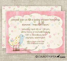 Shabby Chic GIRL BABY SHOWER Vintage Pink Invitations Digital diy