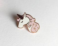 Unicorn Enamel Pin - Lapel Pin - Pink, White and Copper Unicorn