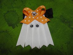 Halloween Hair Bow Ribbon Ghost Hair Bow by AdorableCreationsbyC,