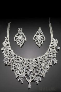 Delicate Rhombus Shaped Alloy with Rhinestone Wedding Jewelry Set(Including Necklace and Earrings)-DX