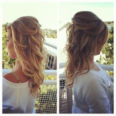 Curls half updo.