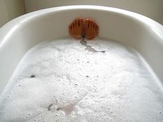 Once a week for 20 minutes, sit in a hot bath that contains a handful of Epsom salts, 10 drops of lavender essential oil, and a half cup of baking soda. This combo draws out toxins, lowers stress-related hormones, and balances your pH levels