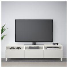 BESTÅ TV bench with drawers, white, Grundsviken dark grey - cm - drawer runner, soft-closing - IKEA Tv Unit, Living Room Tv Unit, Mid Century House, Home, Ikea Living Room, Ikea, Ikea Tv, Bench With Drawers, Living Room Tv