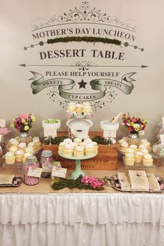 """Photo 3 of 50: lollies & cupcakes in a vintage garden setting / Mother's Day """"Mother's Day Garden sweets table"""""""