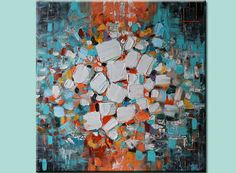 Original  Abstract Painting Modern Contemporary Canvas Art  Orange Turquoise  Palette Knife