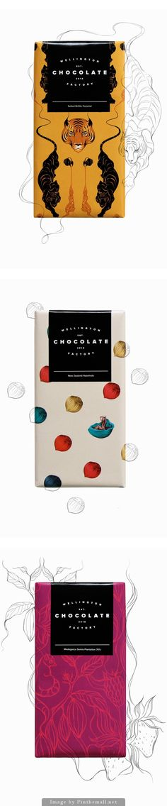 Gorgeous packaging design for Wellington Chocolate Factory by Gina Kiel . Beautiful illustrations and colour palettes, love these and I . Cool Packaging, Print Packaging, Poster Design, Label Design, Package Design, Web Design, Graphic Design, Identity, Chocolate Packaging